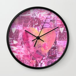Pink hand painted  heart collage Wall Clock
