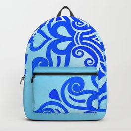 HUNGARIAN ORNAMENTS - Femininity mandala in blue Backpack