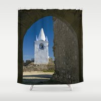 portugal Shower Curtains featuring Arraiolos white tower, Portugal by Michael Howard