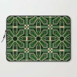 Art Deco Floral Tiles in Emerald Green and Faux Gold Laptop Sleeve