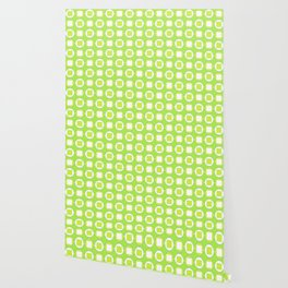 Lime Green Contemporary Bead Pattern Wallpaper