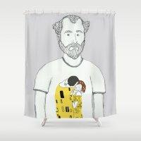 gustav klimt Shower Curtains featuring Gustav Klimt portrait by Irene LoaL