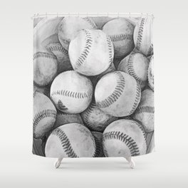 Bucket of Baseballs in Black and White Shower Curtain
