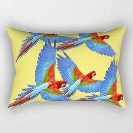 FLOCK OF BLUE MACAWS ON YELLOW Rectangular Pillow