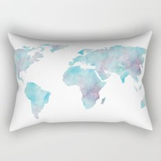 World Map Ocean Blue Rectangular Pillow