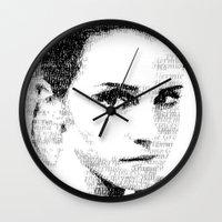 emma watson Wall Clocks featuring Emma Watson Typography by Christian Gholson