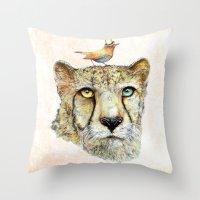 cheetah Throw Pillows featuring Cheetah by dogooder