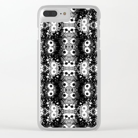 Black White Fower Girly Pattern Clear iPhone Case