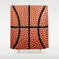 basketball Shower Curtains featuring BasketBall Dreams by Jane Holloway Designs