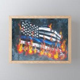 Blue Line In Flames Framed Mini Art Print