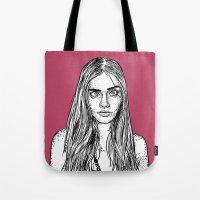 cara delevingne Tote Bags featuring Cara Delevingne by Sharin Yofitasari