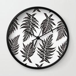 Inked Ferns – Black Palette Wall Clock