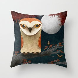Deep in the Night, Owl Eyes Bright Throw Pillow