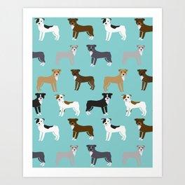 Pit Bull Terrier cute dog art pet portrait must have pet friendly gifts for dog person pit bulls Art Print