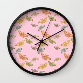 Pink Polyphemus Moths Wall Clock