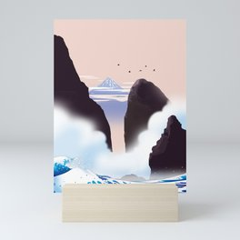 I see Mt. Fuji from the misty coast Mini Art Print