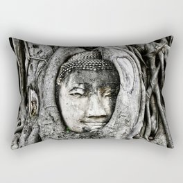 Buddha head entwined in Banyan tree roots. Rectangular Pillow