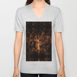 Gold beam in geometric sparkly universe Unisex V-Neck