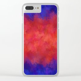 Red Pink Blue Color Explosion Abstract Clear iPhone Case