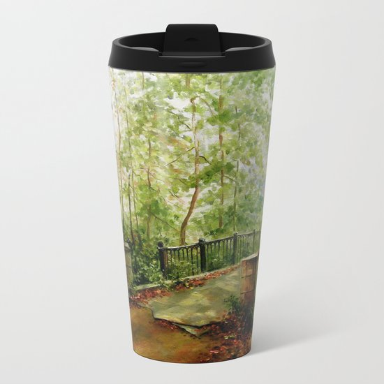 Old bridge in the forest Metal Travel Mug