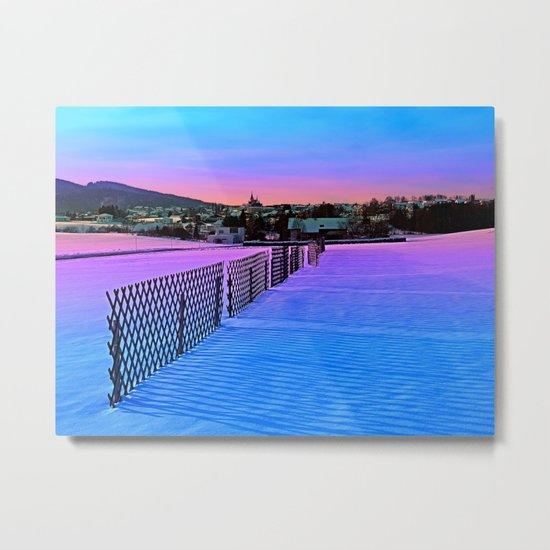 Fences on a winter sundown Metal Print