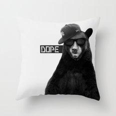 Dope Bear Throw Pillow