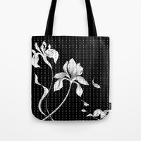 aelwen Tote Bags featuring Iris on Black by Aelwen