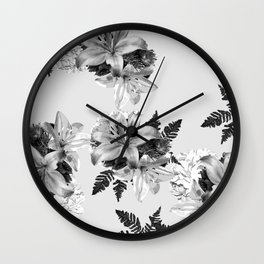 LILY SILVER GRAY WITH HYDRANGEAS AND FERNS Wall Clock