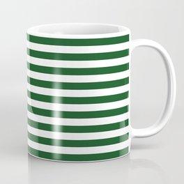 Original Forest Green and White Rustic Horizontal Tent Stripes Coffee Mug