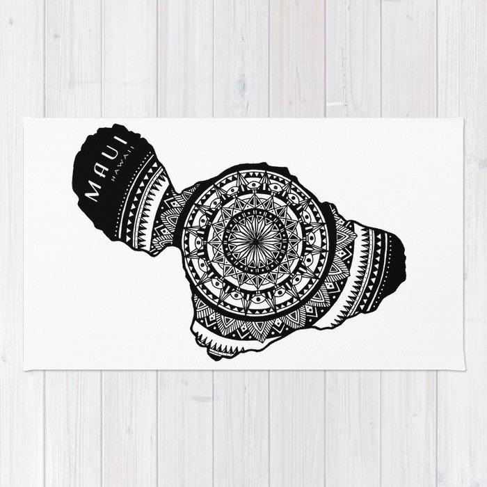 dd82db0fa The Island of Maui  Tribal Illustration  Rug by kokuadesigncompany ...