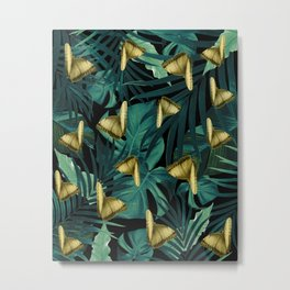 Tropical Butterfly Jungle Night Leaves Pattern #6 #tropical #decor #art #society6 Metal Print