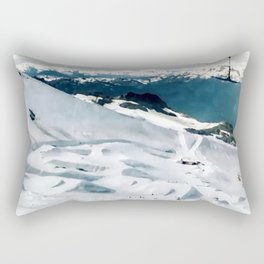 Snowy life on slope under T-bar lifts Rectangular Pillow