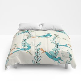 Marine underwater pattern with divers Comforters