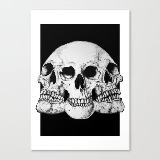Threesome Skull - Black version Canvas Print