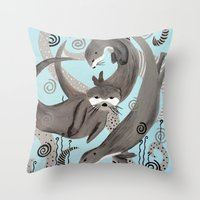 otters Throw Pillows featuring Otters at Play by JeanneFryArt