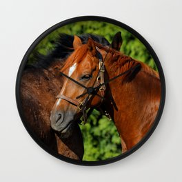 Lean on Me: Two Friends in the Summer Sun Wall Clock