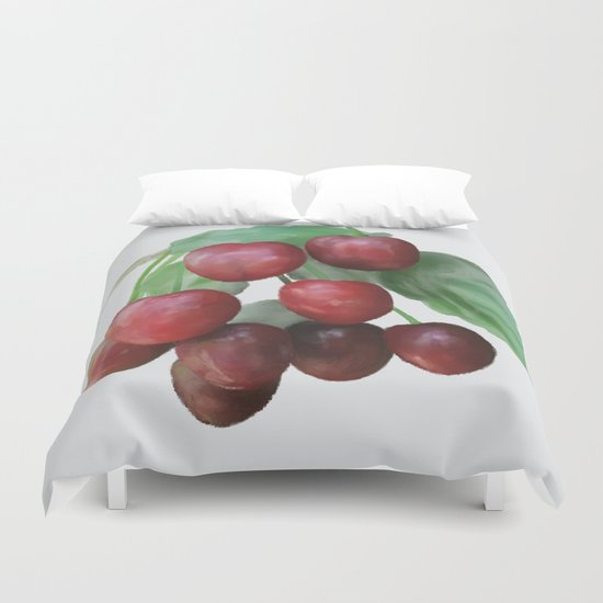 Sour Cherry, watercollor Duvet Cover