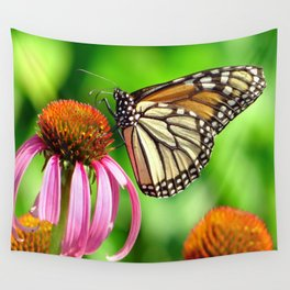 Spotted Butterfly on Cone Flower Wall Tapestry