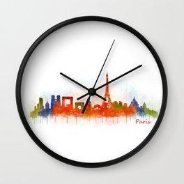 Paris City Skyline Hq v3 Wall Clock