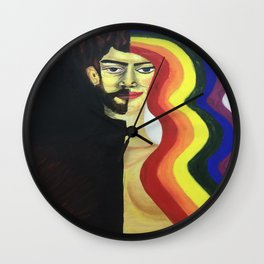 half face rainbow hair Wall Clock