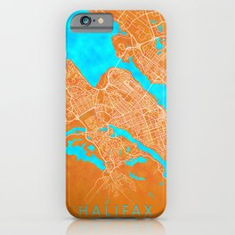 Halifax, NS, Canada, Gold, Blue, City, Map iPhone Case