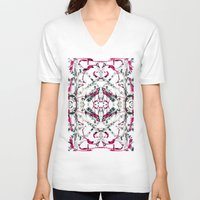 calligraphy V-neck T-shirts featuring Abstract Calligraphy  by Martha Calderon
