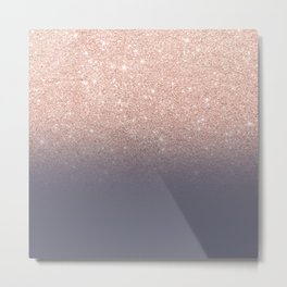 Modern faux rose gold glitter ombre gradient on purple grey Metal Print