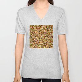 Red yellow pixel noise static pattern Unisex V-Neck