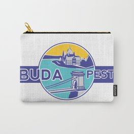 Budapest, Chain Bridge, sticker, blue, yellow Carry-All Pouch