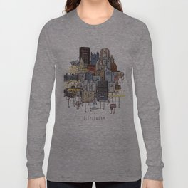 Pittsburgh Skyline group picture- art print Long Sleeve T-shirt