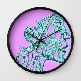 Face Full Of Lines PURPLE Wall Clock