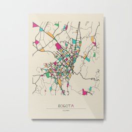 Colorful City Maps: Bogota, Colombia Metal Print