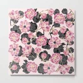 Girly Blush Pink and Black Watercolor Flowers Metal Print