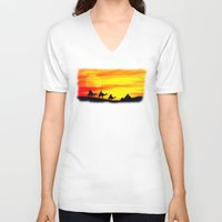 egyptian V-neck T-shirts featuring Egyptian supermoon by Pirmin Nohr